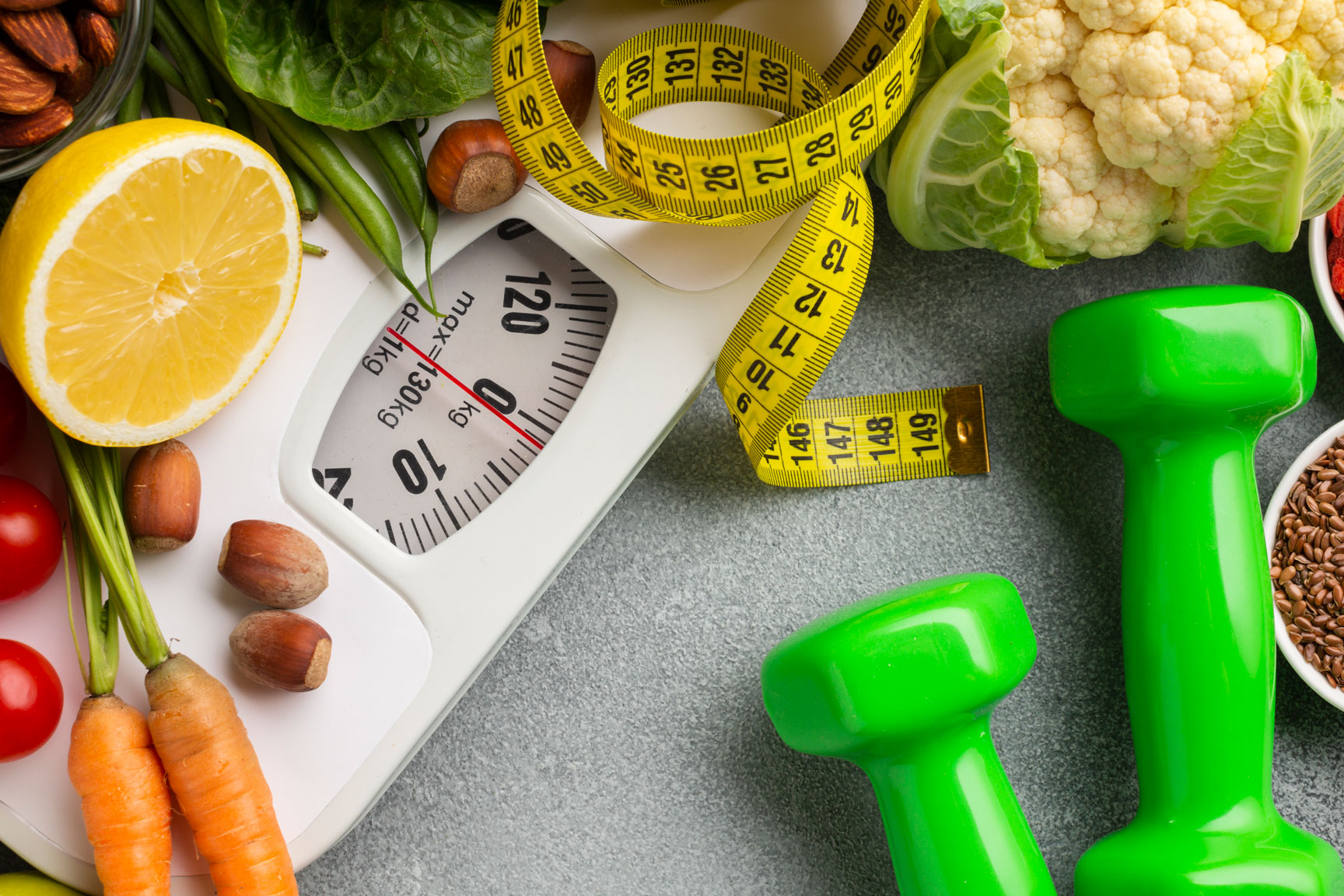 weights measuring tape weighing scale fitness fruits and vegetables