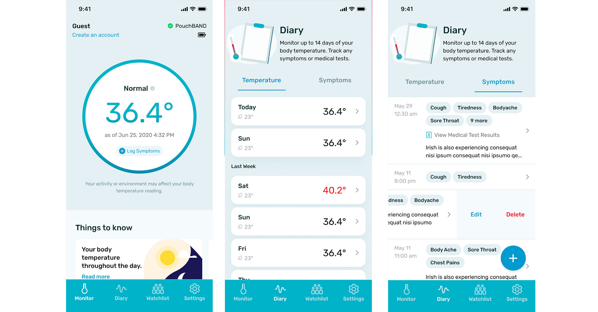 pouchpass temperature monitoring app