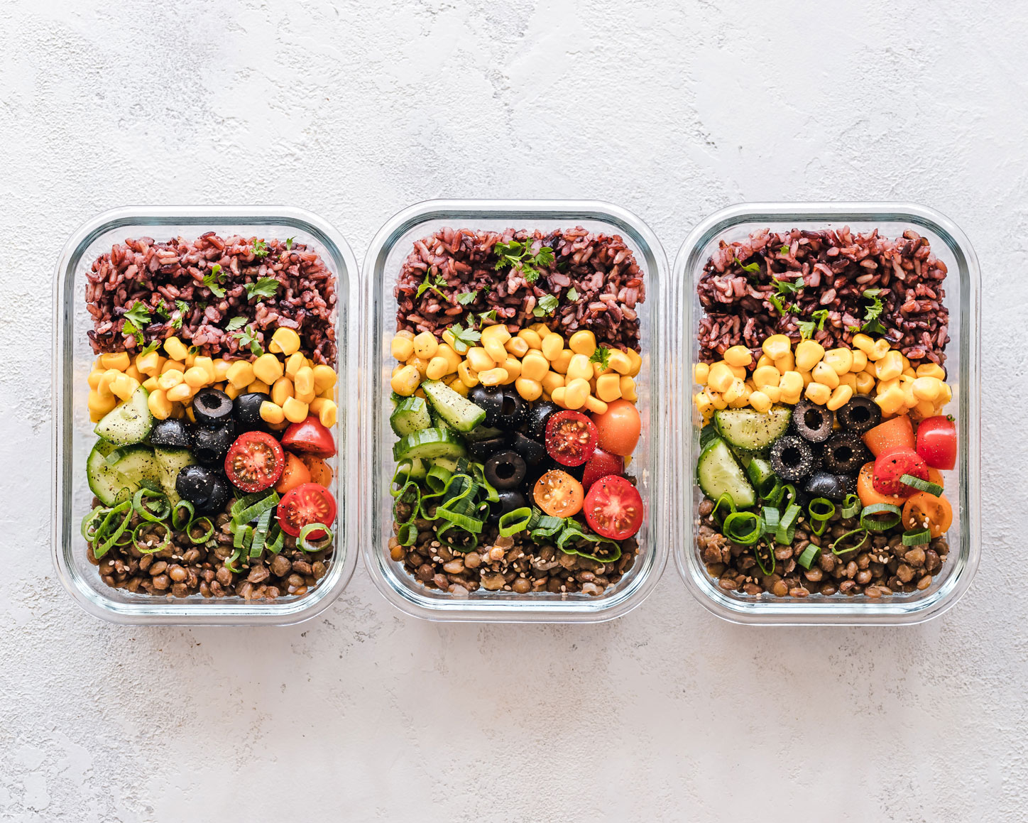 meal prep food in glass containers