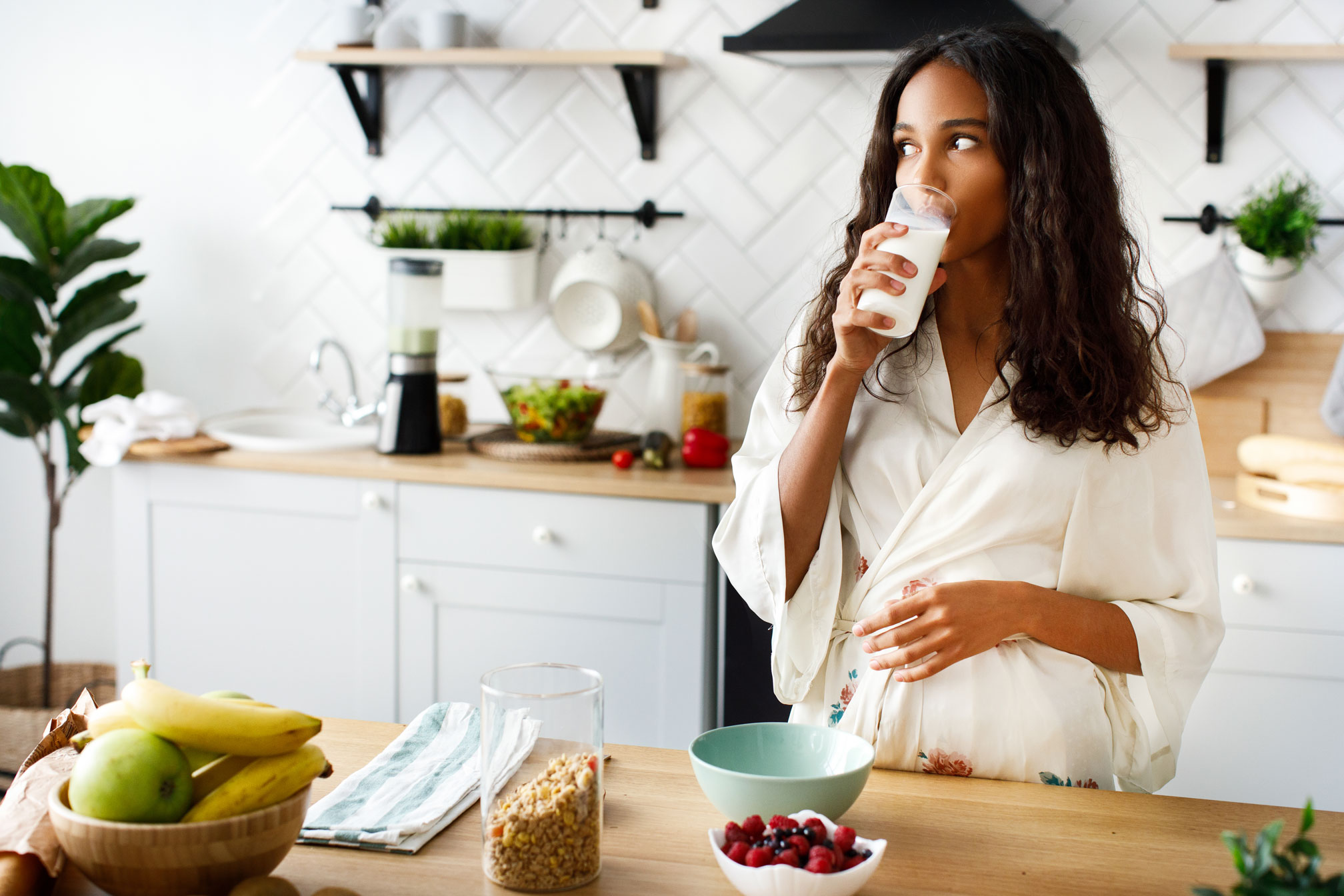 woman with lupus drinking milk